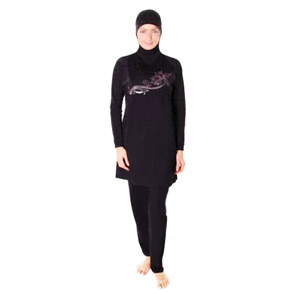 Muslim Swimsuit Swimwear Burqini Bathing Suit   black   S - Mega Save Wholesale & Retail - 1