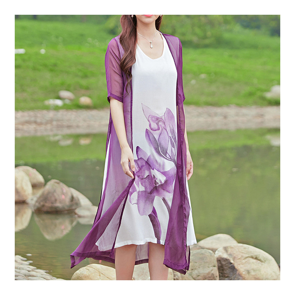 Loose Fake 2pcs Suit Middle Long Dress   purple   M - Mega Save Wholesale & Retail