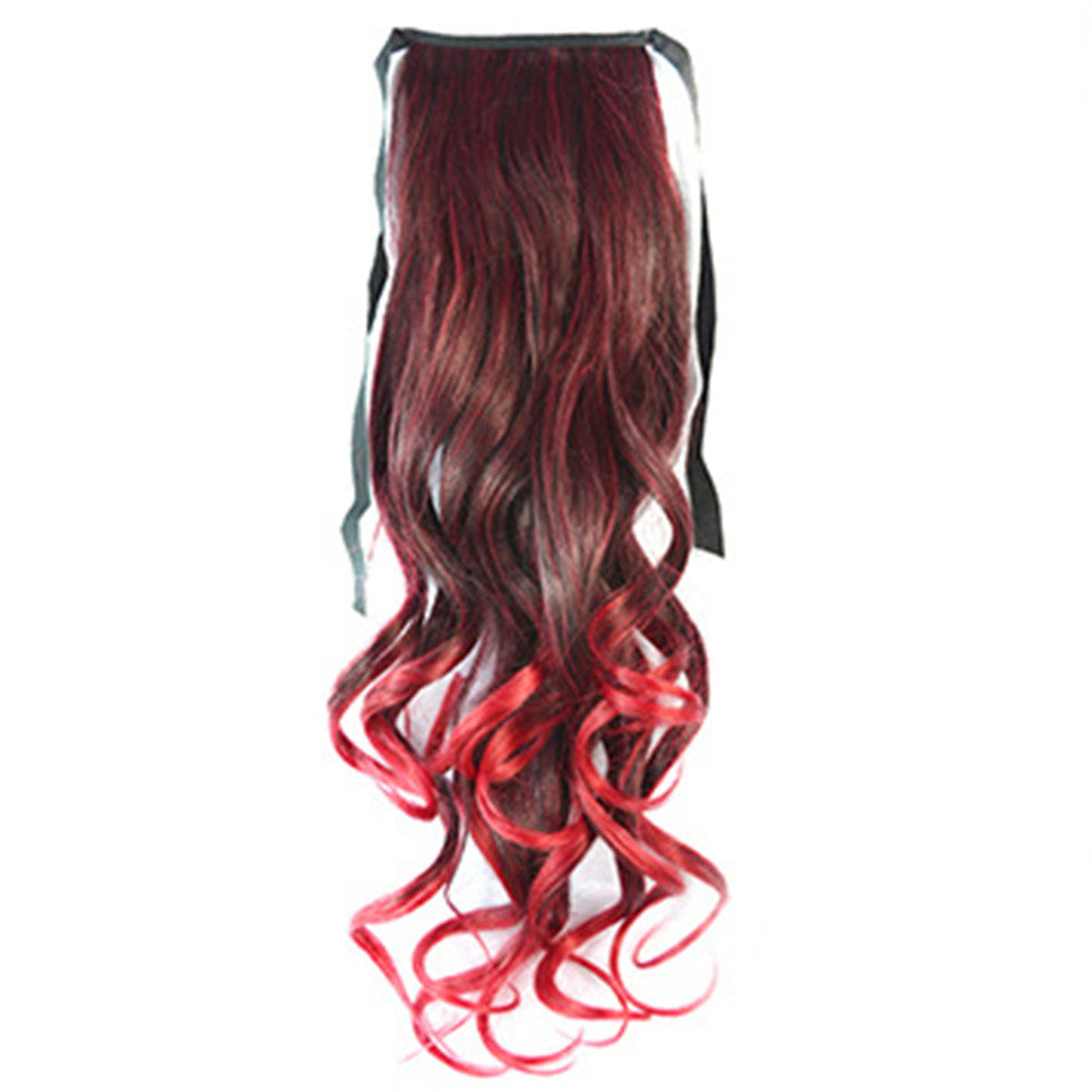 Gradient Ramp Horsetail Lace-up Curled Wig KBMW black to wine red - Mega Save Wholesale & Retail - 1