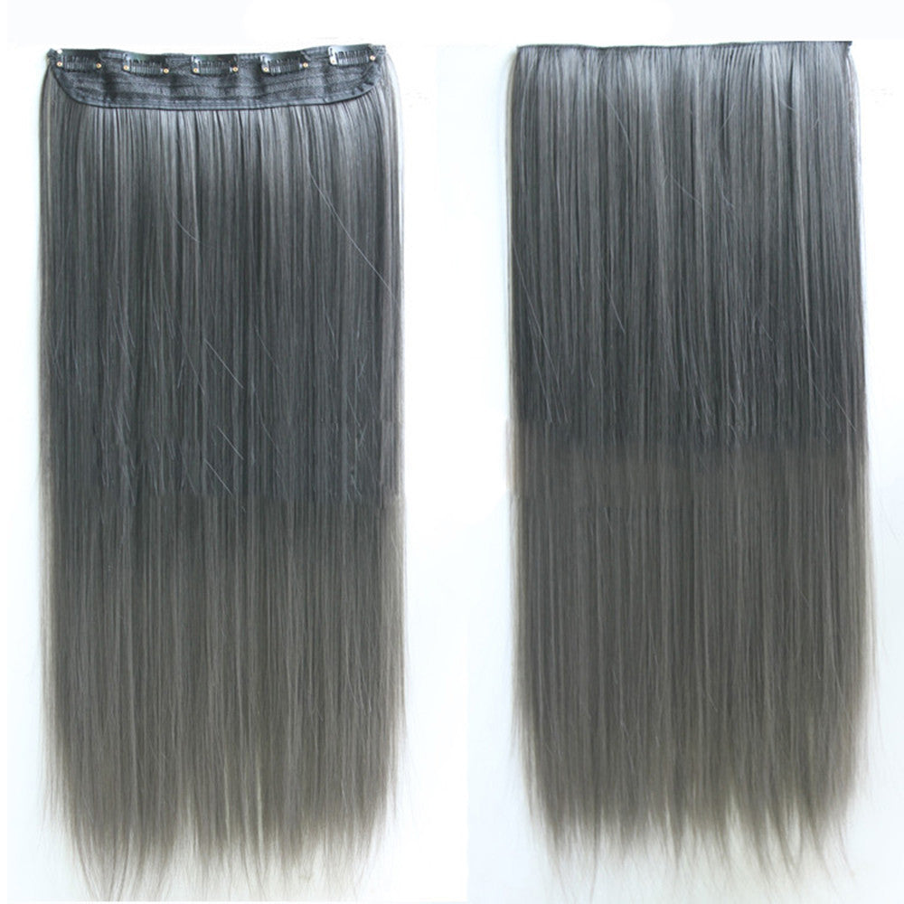 Wholesale color wig hair extension piece a five-card straight hair gradient hair piece long straight hair piece hair extension   DARK GRAY TO BLACK GRADIENT GRANDMOTHER - Mega Save Wholesale & Retail - 1