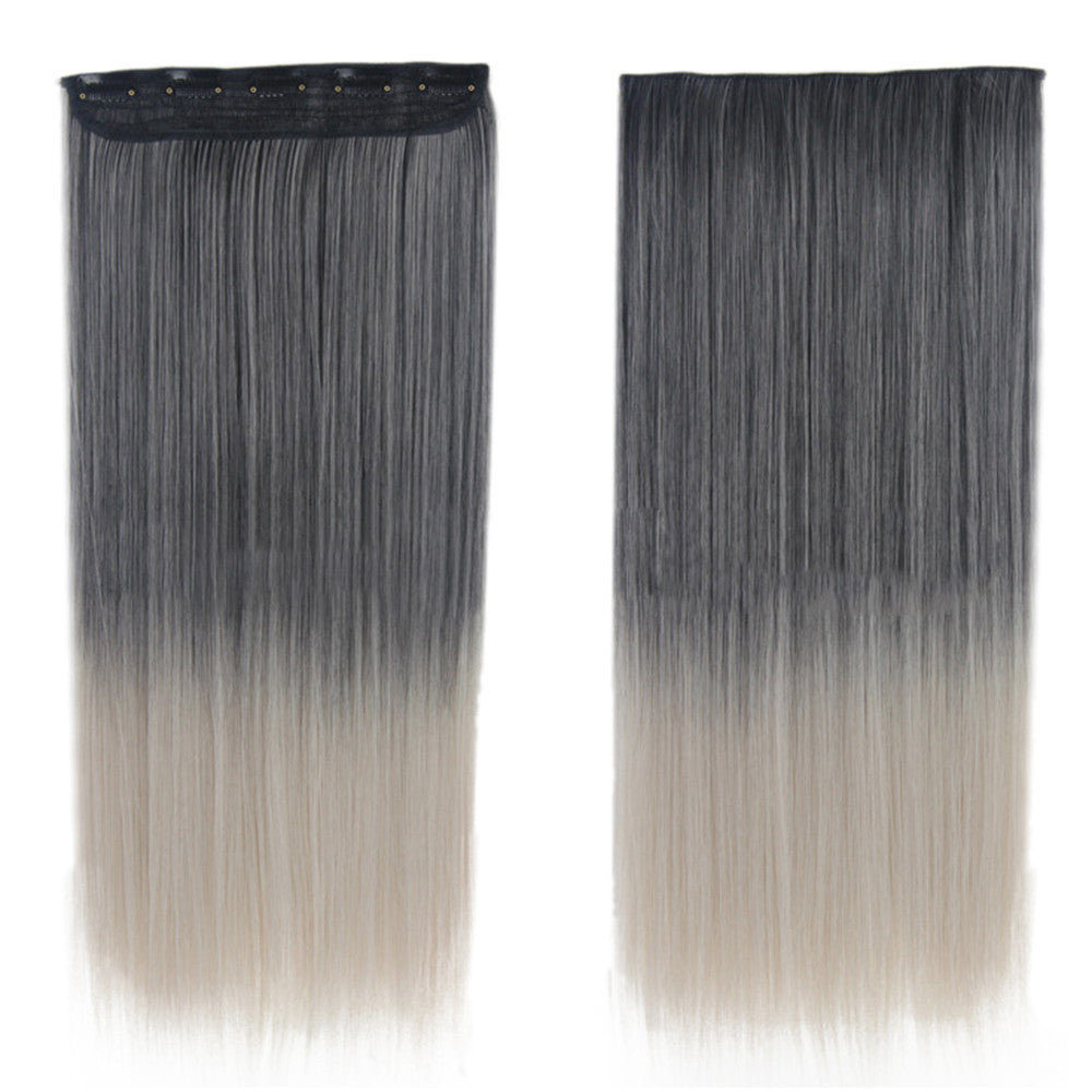Wholesale color wig hair extension piece a five-card straight hair gradient hair piece long straight hair piece hair extension   YA BLACK GRADIENT GRAY GRANDMOTHER - Mega Save Wholesale & Retail - 1