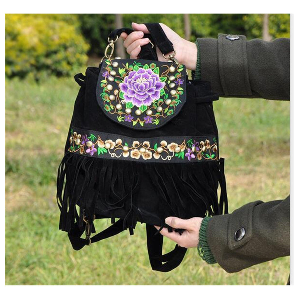 Yunnan Fashionable National Style Ebroidery Bag Stylish Featured Shoulders Bag Fashionable Bag    black - Mega Save Wholesale & Retail - 1