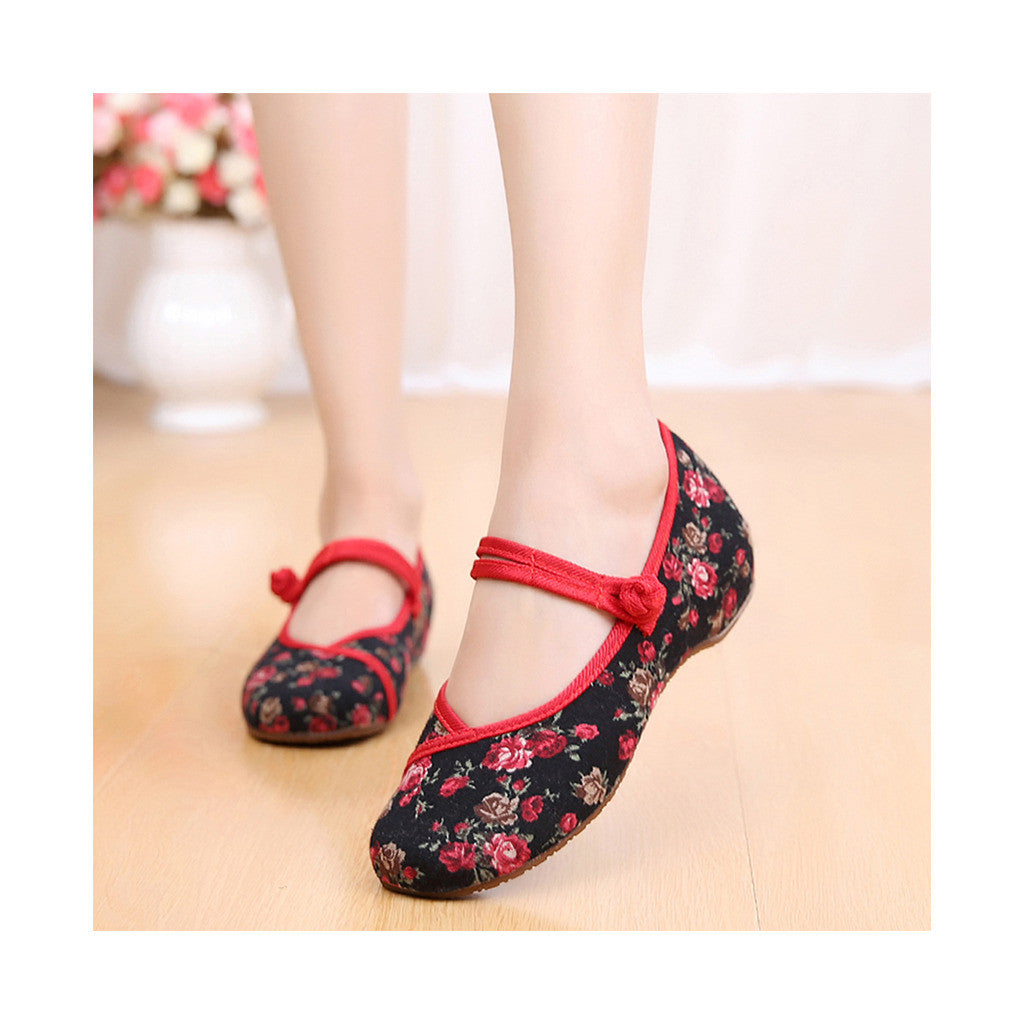 Old Beijing Black Flower Embroidered Shoes for Women in Low Cut National Style with Beautiful Designs & Ankle Straps - Mega Save Wholesale & Retail - 1