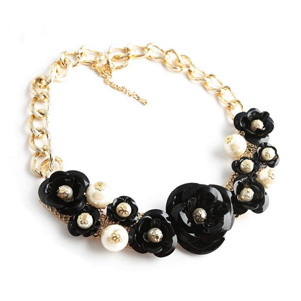 European Big Brand Exaggerated String Weaved Crystal Flower Necklace Short Clavicle Necklace Foreign Trade Ornament   black - Mega Save Wholesale & Retail - 1