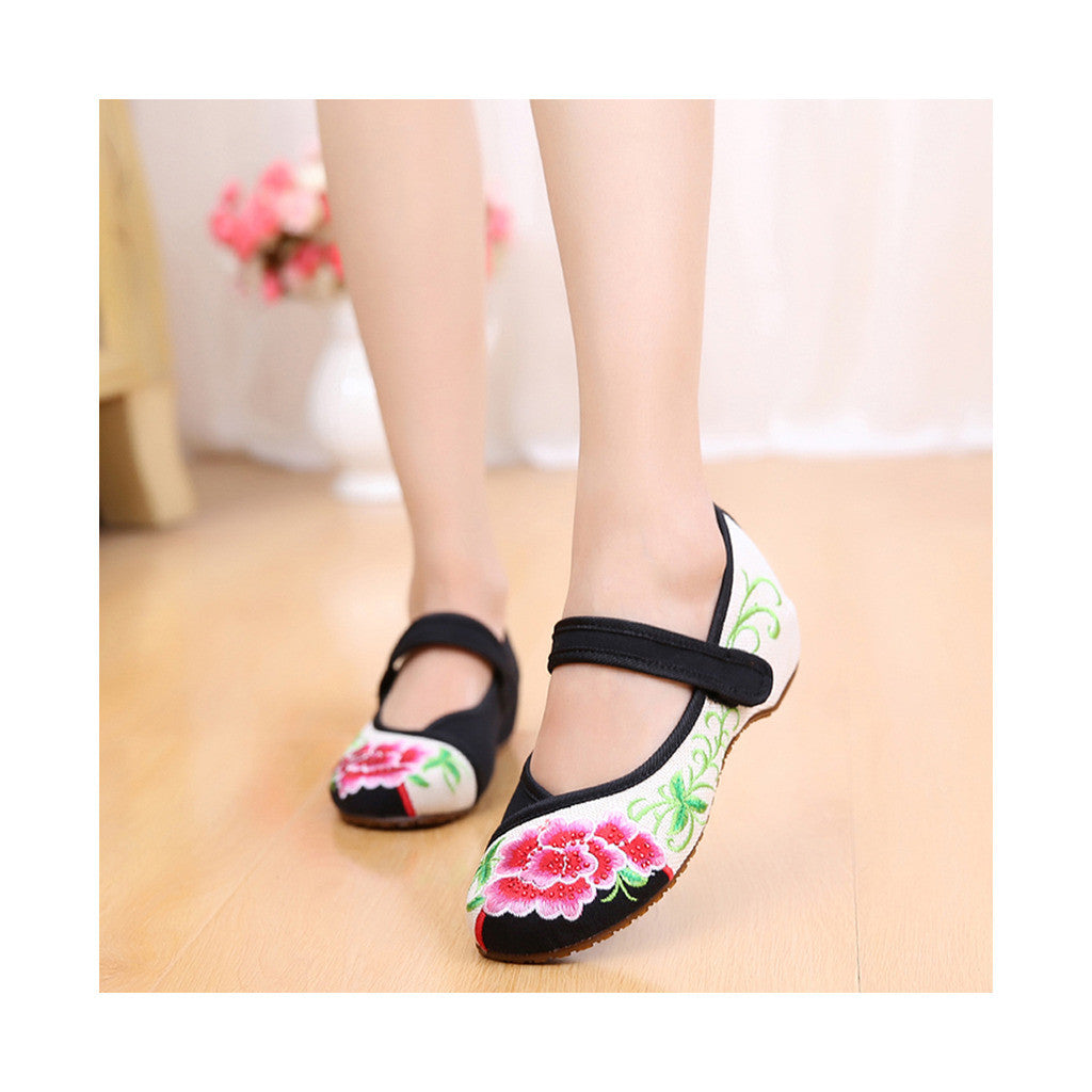 Old Beijing Cloth Black Women Casual Embroidered Shoes for Woman Low Cut National Style with Beautiful Floral Designs & Ankle Straps - Mega Save Wholesale & Retail - 1