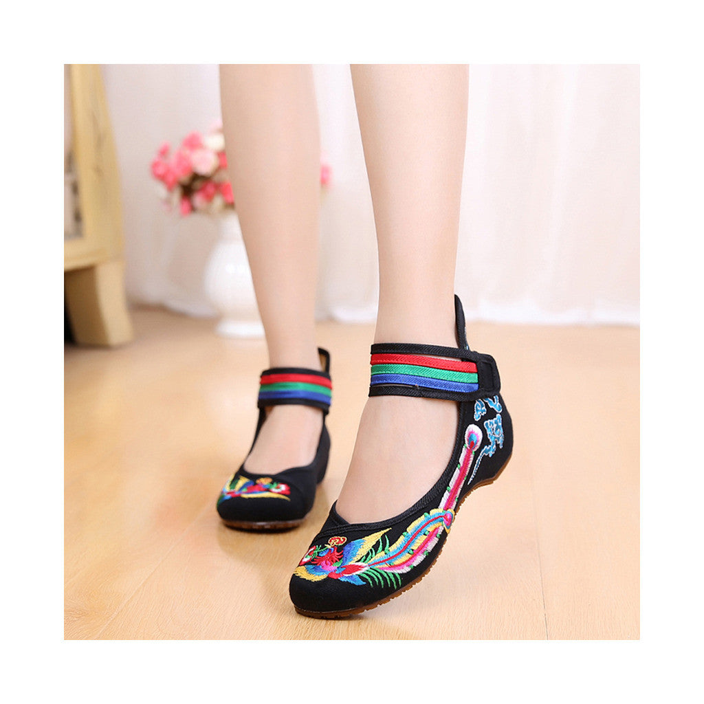 Old Beijing Black Cowhell Embroidered Shoes for Women in Tri Color Ankle Straps - Mega Save Wholesale & Retail - 1