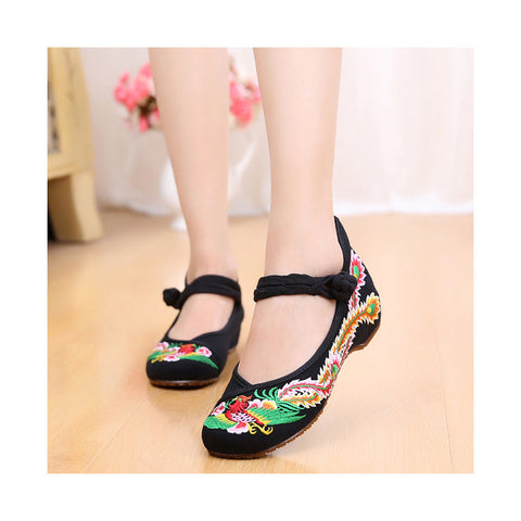 Colorful Phoenix Old Beijing Embroidered Cloth Shoes Woman National Style Square Dance  black - Mega Save Wholesale & Retail - 1