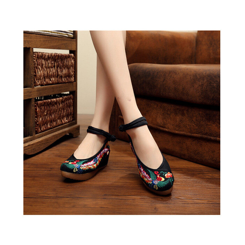 Colorful Phoenix Embroidered Shoes in High Heels & Black Ventilated Material with Ankle Straps - Mega Save Wholesale & Retail - 1