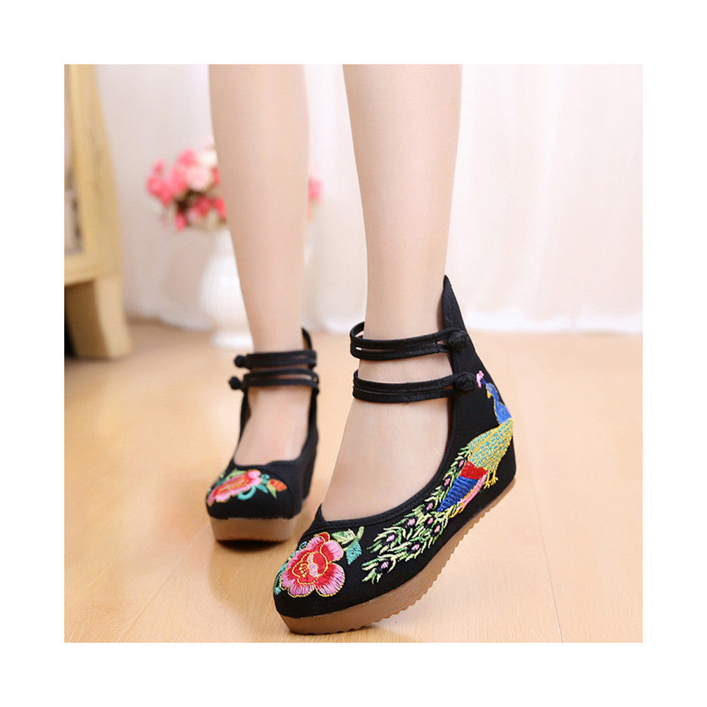 Old Beijing Traditional Chinese Black High Heeled Custom Embroidered Shoes in Slipsole & Ankle Straps - Mega Save Wholesale & Retail - 1