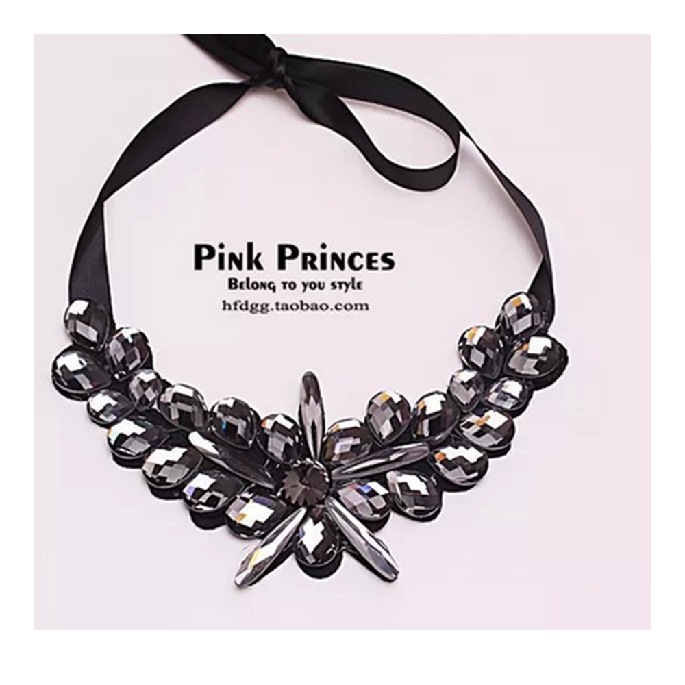 European Big Brand Necklace Simple Weaved Full Zircon Fake Collar Sweater Necklace    black - Mega Save Wholesale & Retail - 1