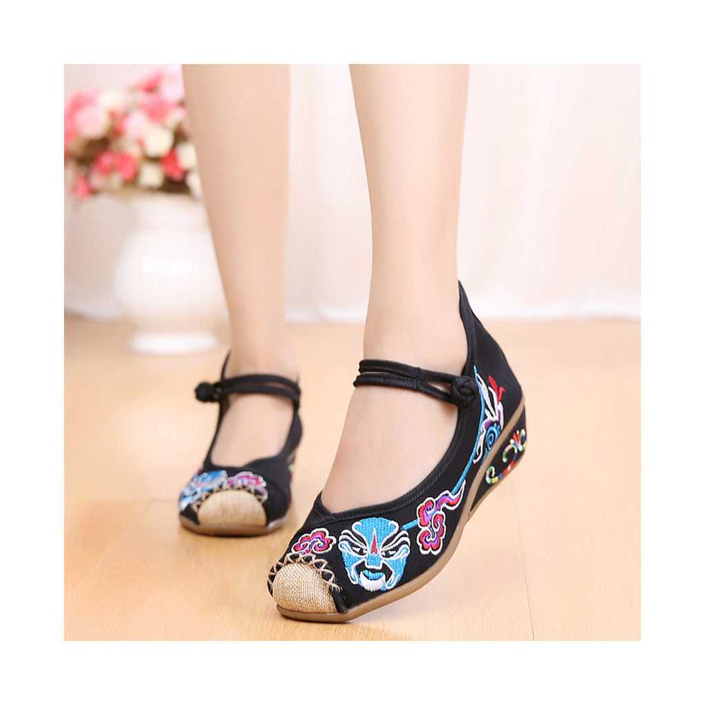 Old Beijing Black Embroidered Cloth Shoes for Women in National Style & Cowhell Sole - Mega Save Wholesale & Retail - 1