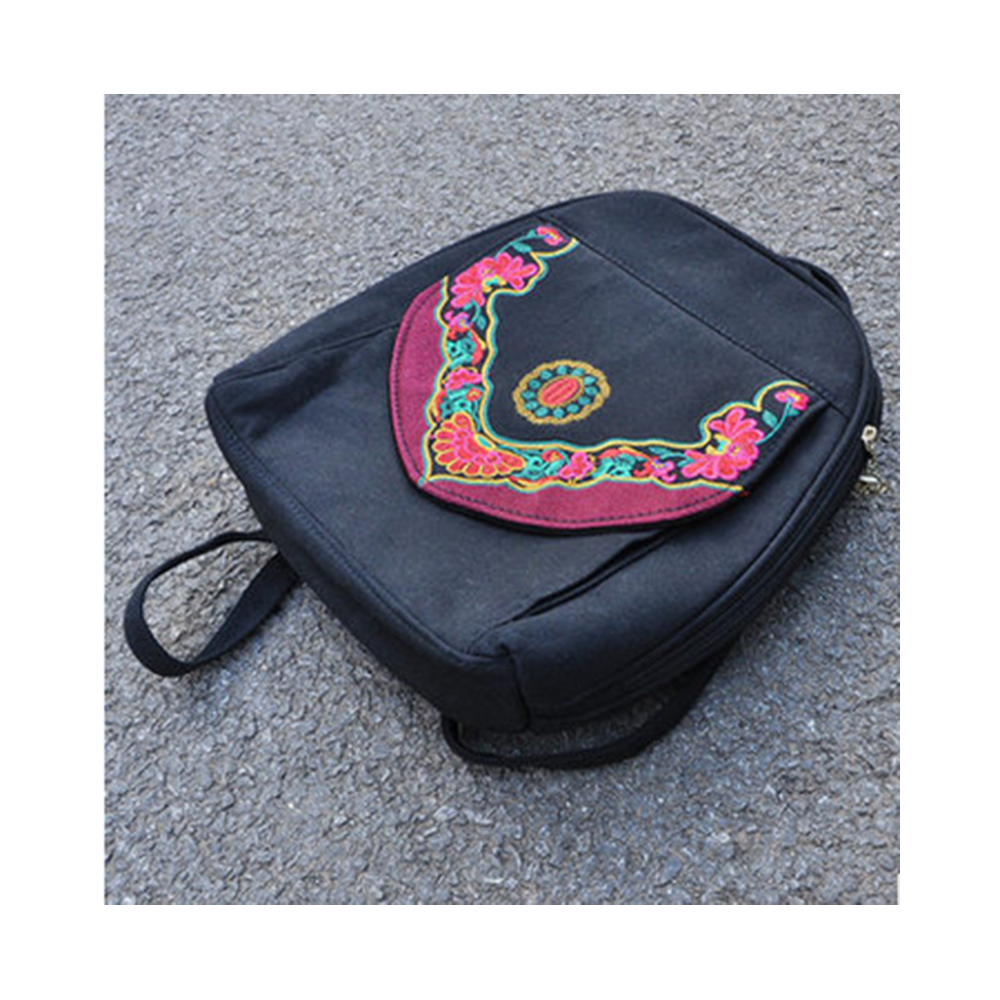 New Yunnan Fashionable National Style Embroidery Bag Stylish Featured Shoulders Bag Fashionable Bag Woman's Bag    black - Mega Save Wholesale & Retail - 1