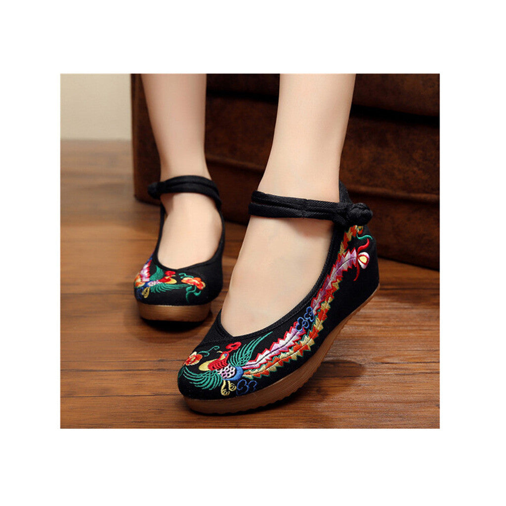 Colorful Phoenix Embroidered Shoes in High Heels & Black Ventilated Material with Ankle Straps - Mega Save Wholesale & Retail - 2