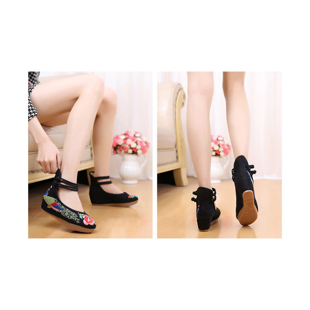 Old Beijing Traditional Chinese Black High Heeled Custom Embroidered Shoes in Slipsole & Ankle Straps - Mega Save Wholesale & Retail - 3