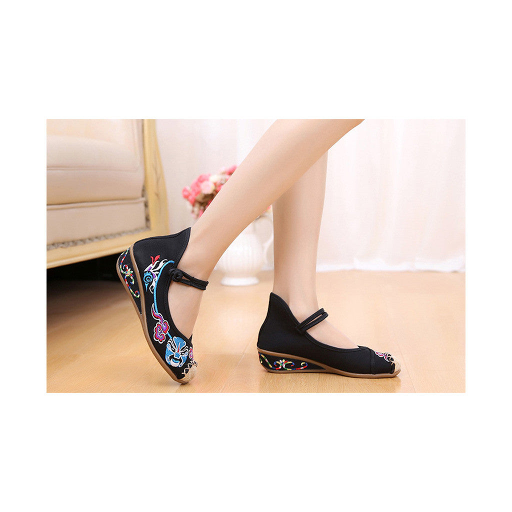 Old Beijing Black Embroidered Cloth Shoes for Women in National Style & Cowhell Sole - Mega Save Wholesale & Retail - 2