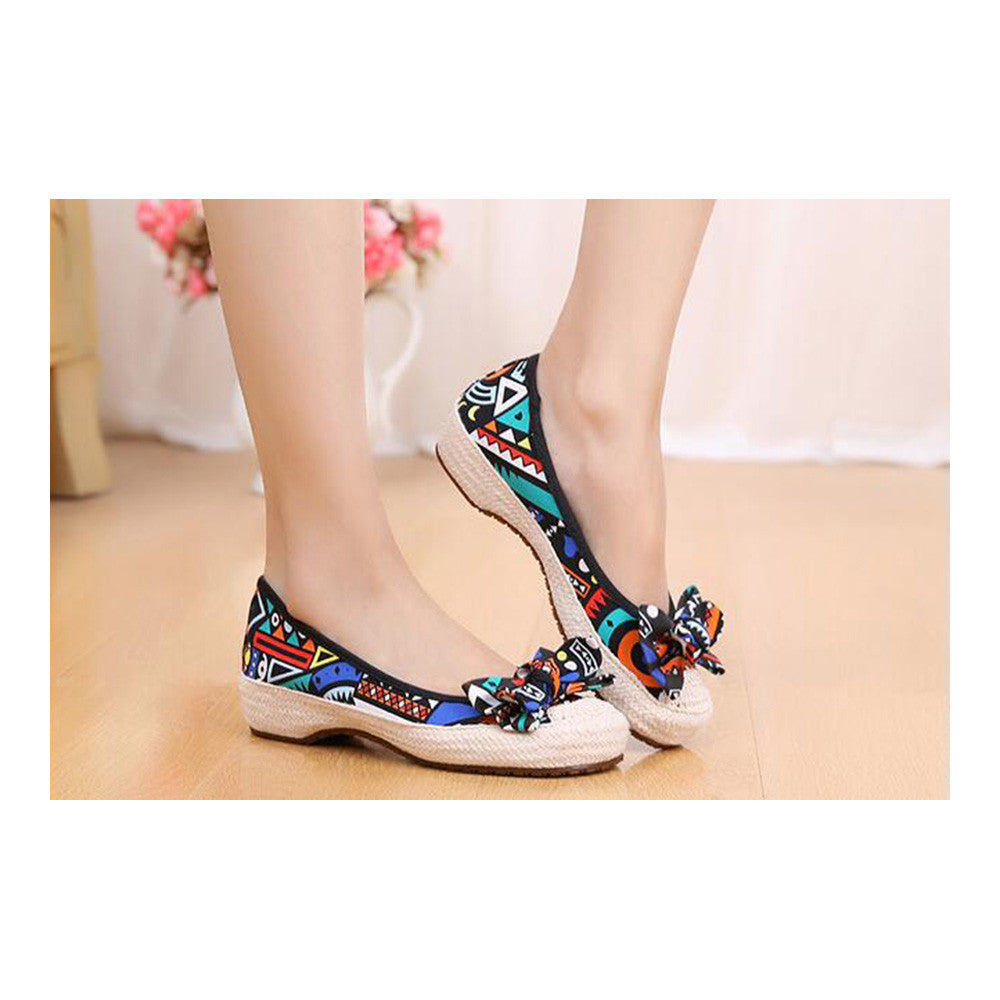 Old Beijing Cloth Shoes Woman Embroidered Shoes Literary Style Slipsole Increased within  black - Mega Save Wholesale & Retail - 2