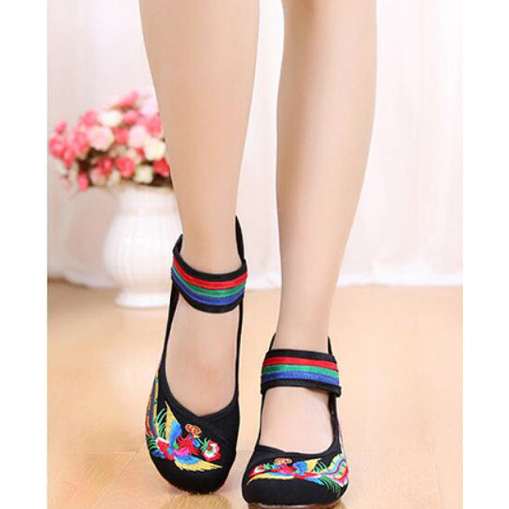 Old Beijing Black Cowhell Embroidered Shoes for Women in Tri Color Ankle Straps - Mega Save Wholesale & Retail - 2