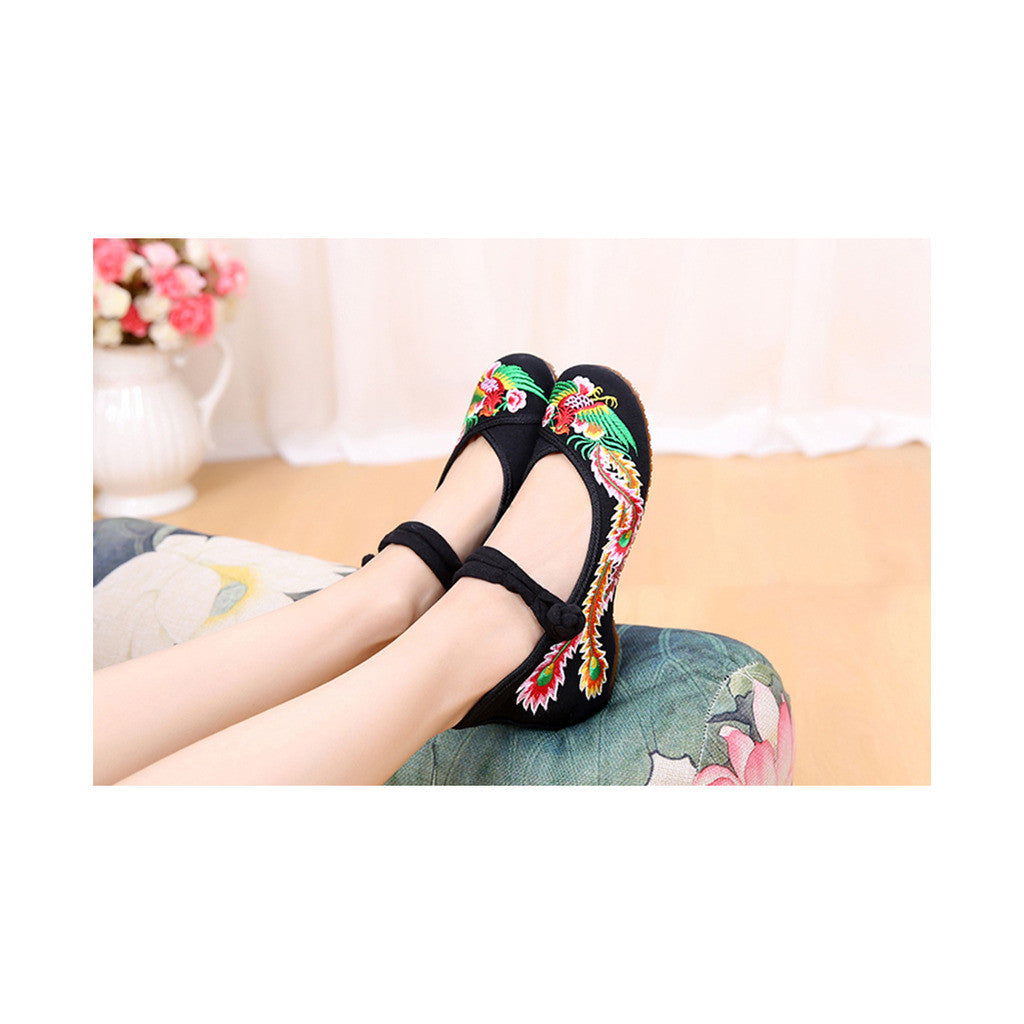 Colorful Phoenix Old Beijing Shoes for Women in Square National Style with Embroidery & Ankle Straps - Mega Save Wholesale & Retail - 2