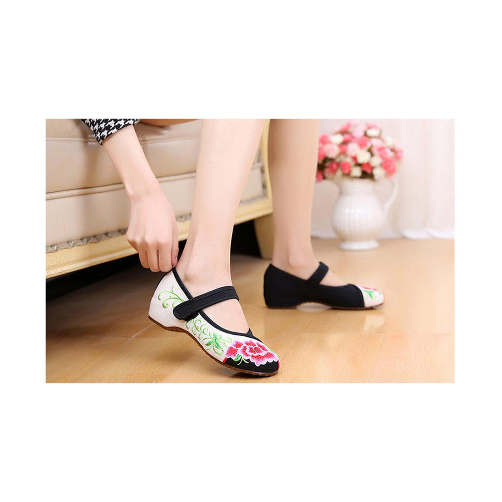 Old Beijing Cloth Black Women Casual Embroidered Shoes for Woman Low Cut National Style with Beautiful Floral Designs & Ankle Straps - Mega Save Wholesale & Retail - 2