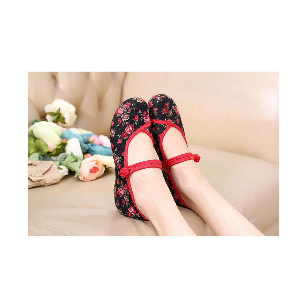 Old Beijing Black Flower Embroidered Shoes for Women in Low Cut National Style with Beautiful Designs & Ankle Straps - Mega Save Wholesale & Retail - 2