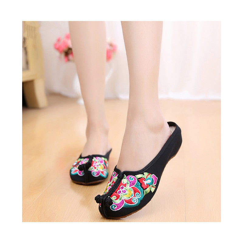Old Beijing Cloth Shoes Summer Woman Cowhells Sole Embroidered Shoes Slipsole Vintage National Style Flax Sandals Slippers black - Mega Save Wholesale & Retail - 2