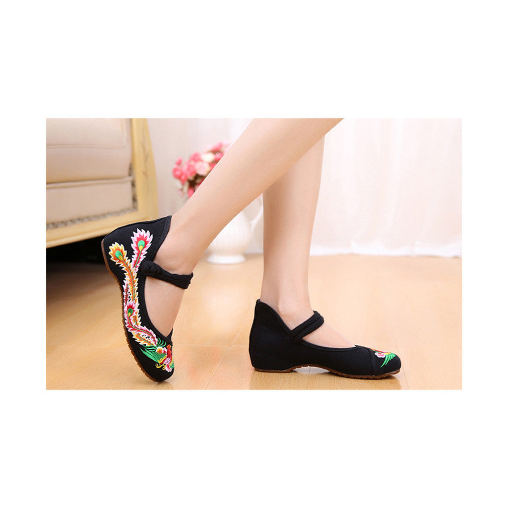 Colorful Phoenix Old Beijing Shoes for Women in Square National Style with Embroidery & Ankle Straps - Mega Save Wholesale & Retail - 3
