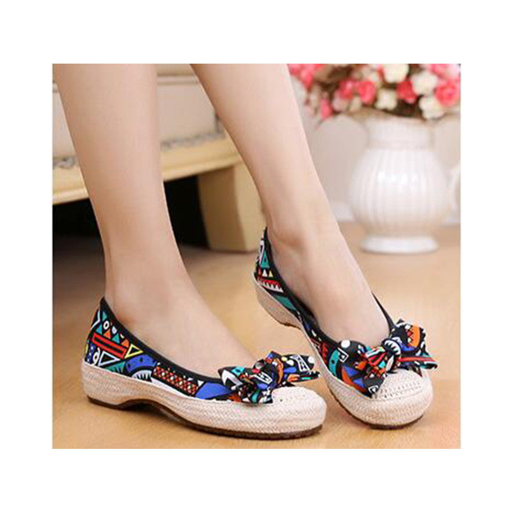 Old Beijing Cloth Shoes Woman Embroidered Shoes Literary Style Slipsole Increased within  black - Mega Save Wholesale & Retail - 3