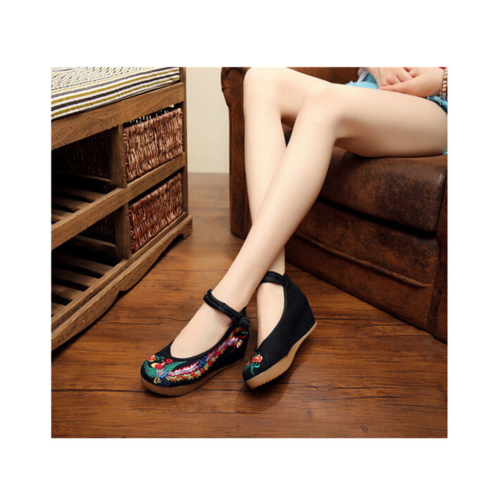 Colorful Phoenix Embroidered Shoes in High Heels & Black Ventilated Material with Ankle Straps - Mega Save Wholesale & Retail - 3
