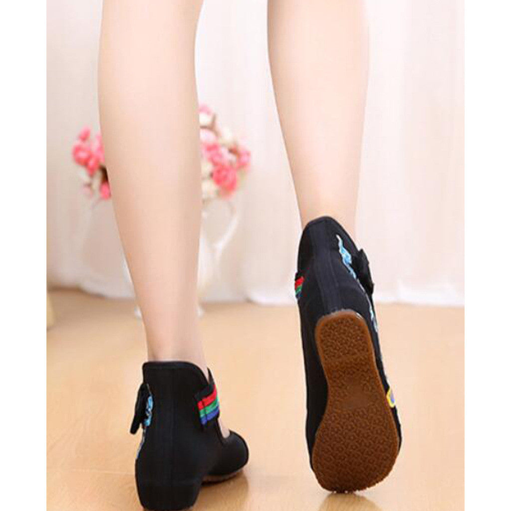 Old Beijing Black Cowhell Embroidered Shoes for Women in Tri Color Ankle Straps - Mega Save Wholesale & Retail - 3