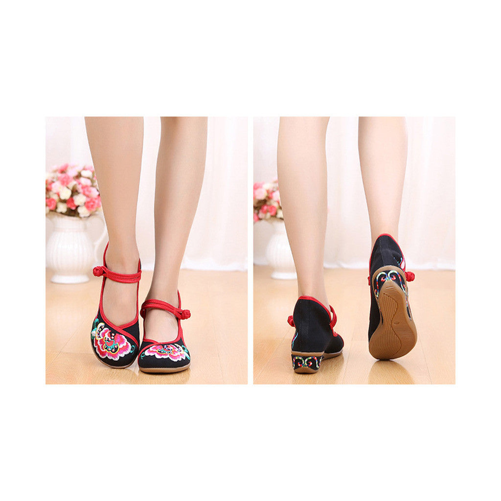 Old Beijing Black Embroidered Online Shoes for Women in National Slipsole Style & Buckle Fashion - Mega Save Wholesale & Retail - 3