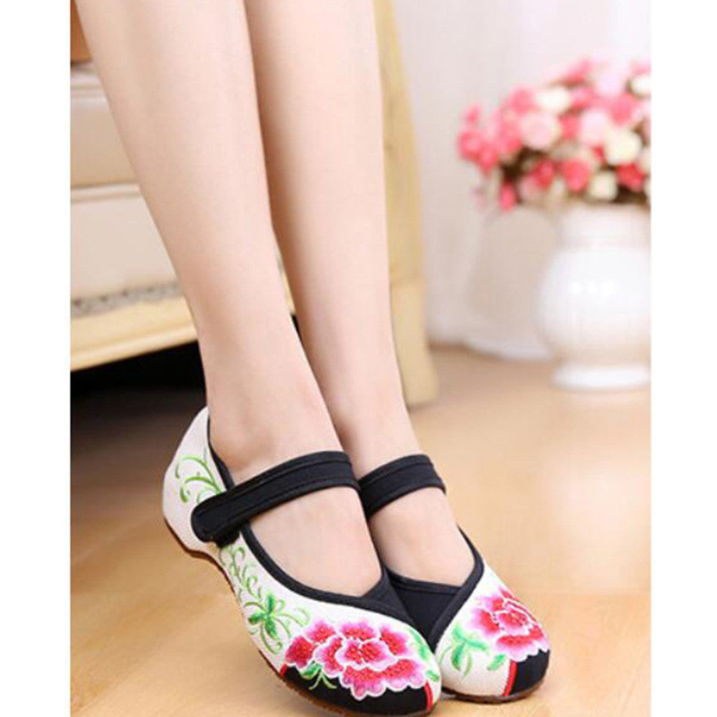 Old Beijing Cloth Black Women Casual Embroidered Shoes for Woman Low Cut National Style with Beautiful Floral Designs & Ankle Straps - Mega Save Wholesale & Retail - 3