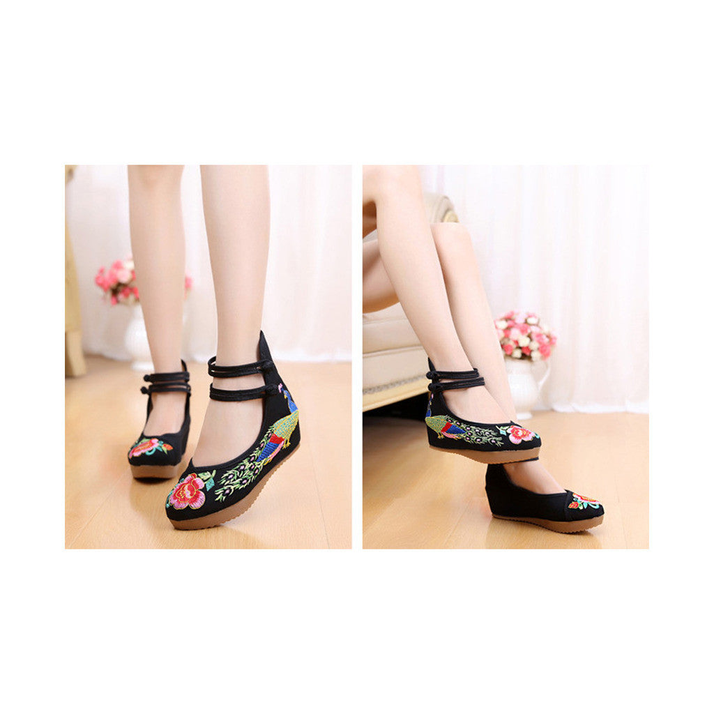 Old Beijing Cloth Shoes Embroidered Shoes High Heeled Shoes Woman National Style Slipsole Increased within  black - Mega Save Wholesale & Retail - 3