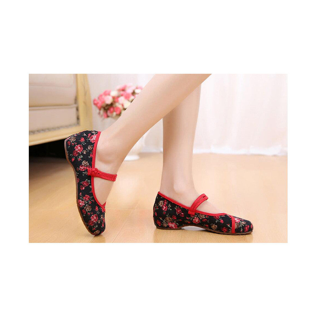 Old Beijing Black Flower Embroidered Shoes for Women in Low Cut National Style with Beautiful Designs & Ankle Straps - Mega Save Wholesale & Retail - 3
