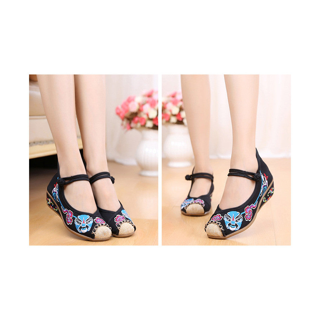 Old Beijing Black Embroidered Cloth Shoes for Women in National Style & Cowhell Sole - Mega Save Wholesale & Retail - 3