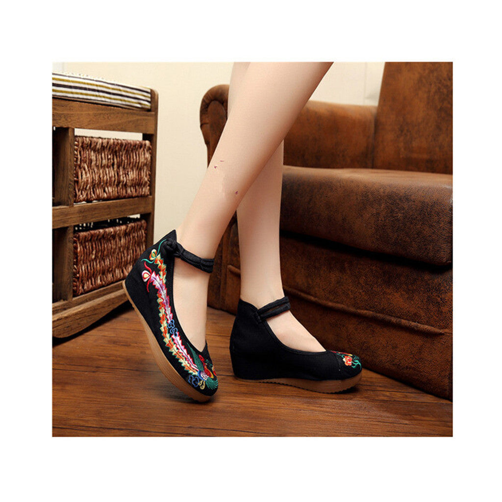 Colorful Phoenix Embroidered Shoes in High Heels & Black Ventilated Material with Ankle Straps - Mega Save Wholesale & Retail - 4