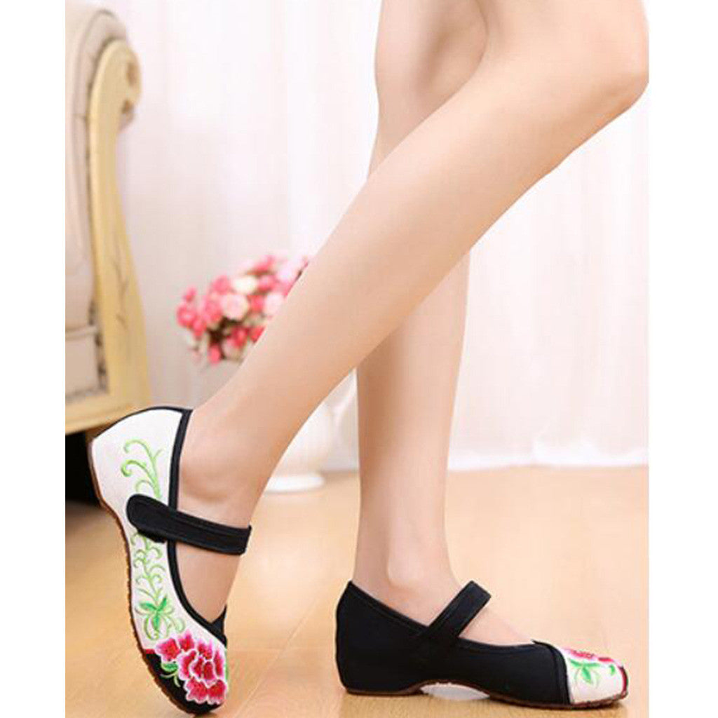 Old Beijing Cloth Black Women Casual Embroidered Shoes for Woman Low Cut National Style with Beautiful Floral Designs & Ankle Straps - Mega Save Wholesale & Retail - 4