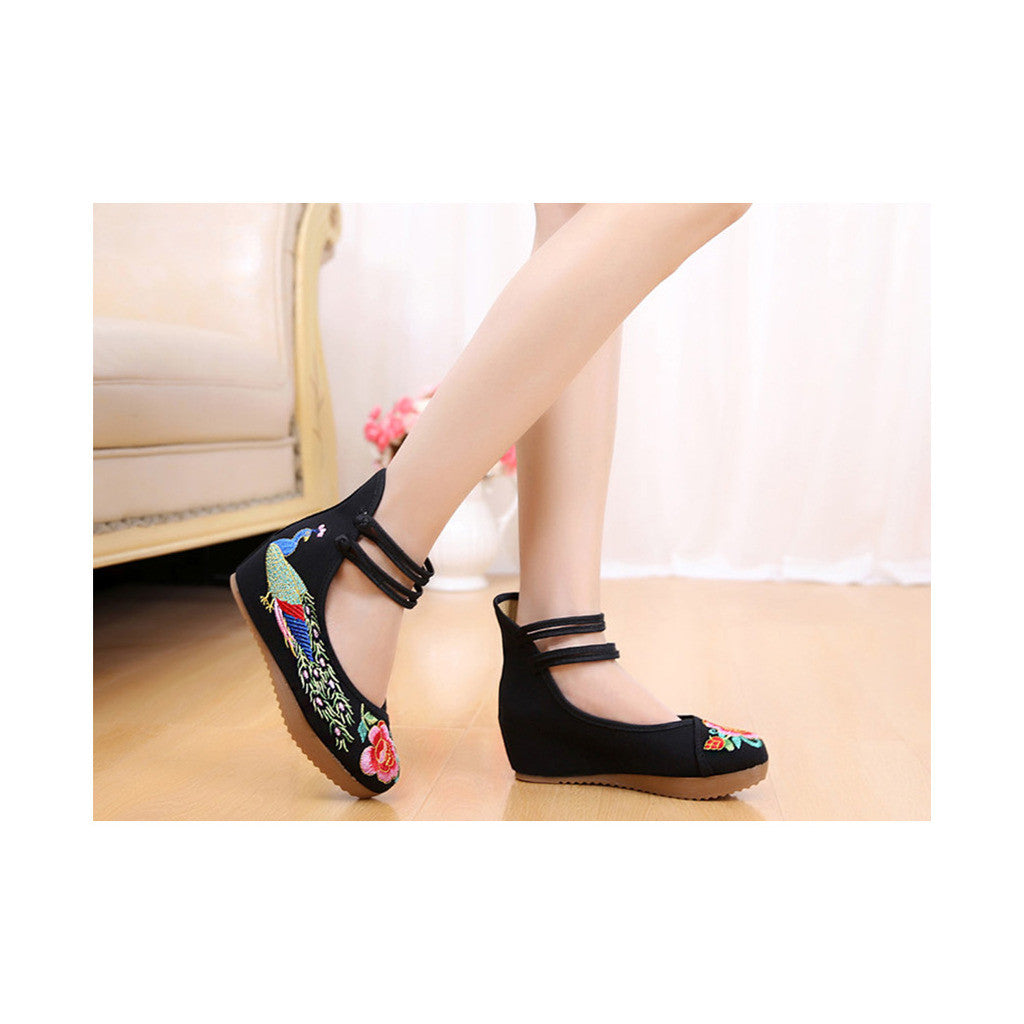 Old Beijing Traditional Chinese Black High Heeled Custom Embroidered Shoes in Slipsole & Ankle Straps - Mega Save Wholesale & Retail - 4