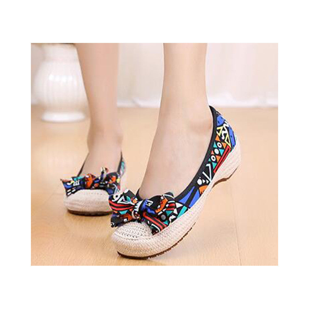Old Beijing Cloth Shoes Woman Embroidered Shoes Literary Style Slipsole Increased within  black - Mega Save Wholesale & Retail - 4