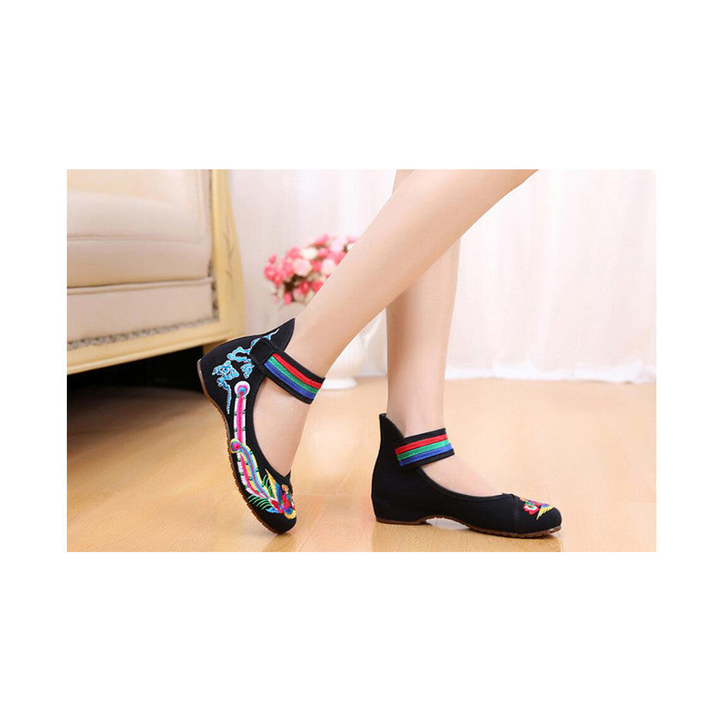 Old Beijing Black Cowhell Embroidered Shoes for Women in Tri Color Ankle Straps - Mega Save Wholesale & Retail - 4
