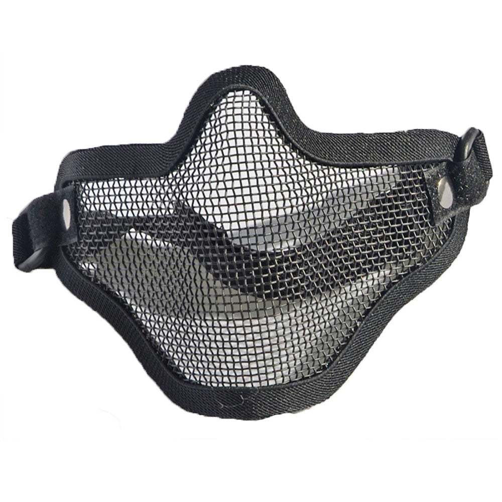 army fan outdoor protection untensil half-face wire protector field operation protection mask sports mask   full black - Mega Save Wholesale & Retail - 1