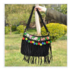 New Winter National Style Embroidery Woman's Single-shoulder Bag Chinese Style Tassel Single-shoulder Bag Messenger Bag 93121   black - Mega Save Wholesale & Retail - 1