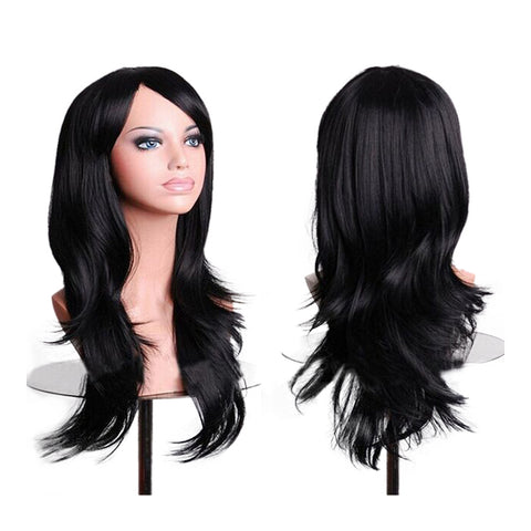 "27.5"" 70cm Long Wavy Curly Cosplay Fashion Mermaid Fantasy Wig heat resistant  black - Mega Save Wholesale & Retail"