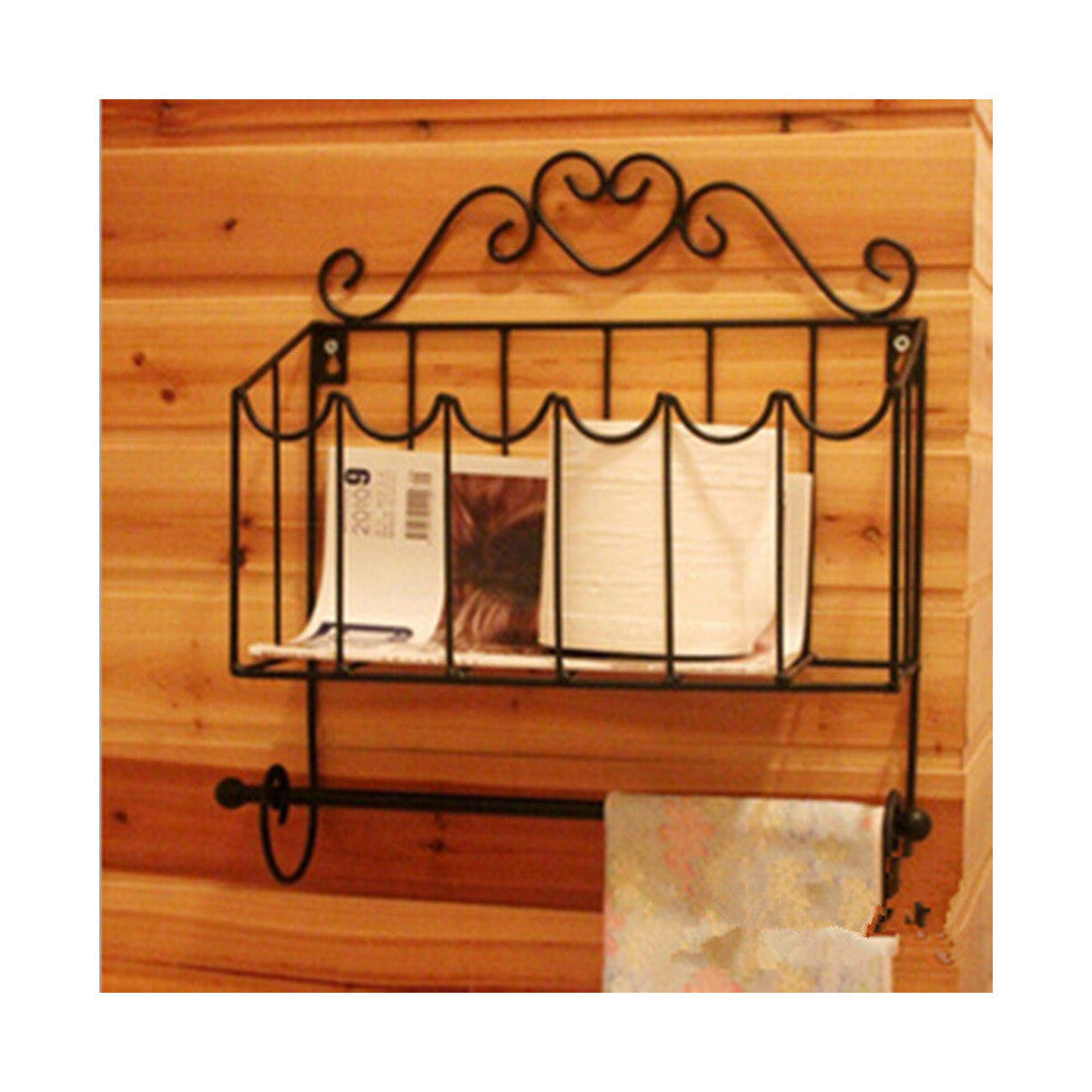 Magazine Rack with Tissue Holder Iron Art Black - Mega Save Wholesale & Retail - 1
