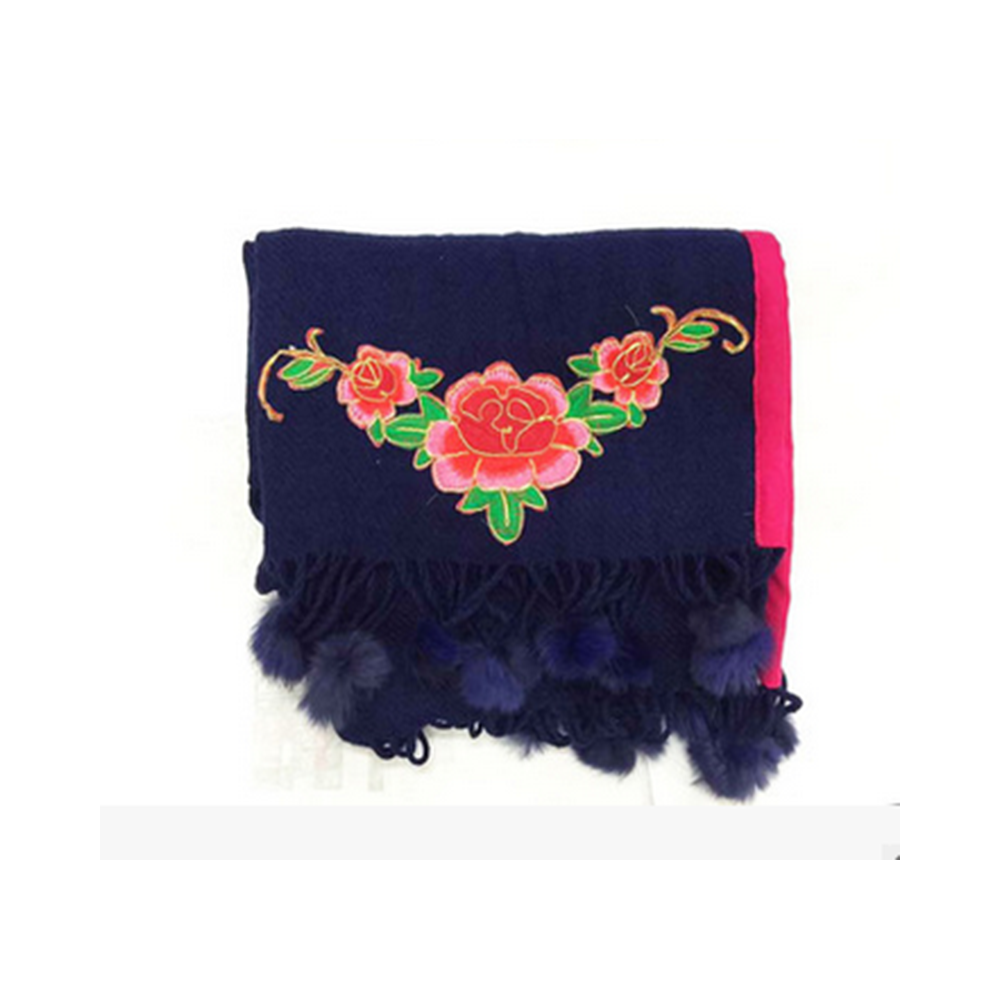 Spring Festival's Gift Literary Cashmere National Style Embroidery Scarf Cotton and Linen Autumn Winter New Embroidery Wrap Scarf   black - Mega Save Wholesale & Retail - 1