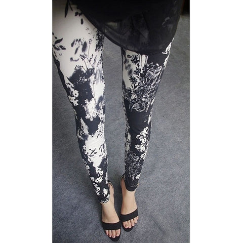Womens sexy leggings Stretchy fit skin pants trousers Chinese traditional ink Pattern Black and white flower - Mega Save Wholesale & Retail