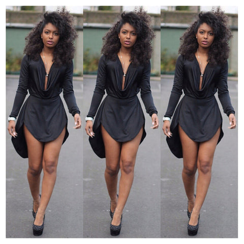 AliExpress Hot explosion models in Europe and America new sexy V-neck dress waist irregular hem dress Black - Mega Save Wholesale & Retail - 1