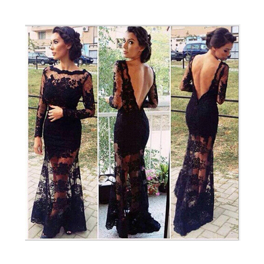 Sexy Lace Chiffon Backless Evening Formal Party Cocktail Long Dress Prom Gown - Mega Save Wholesale & Retail - 1