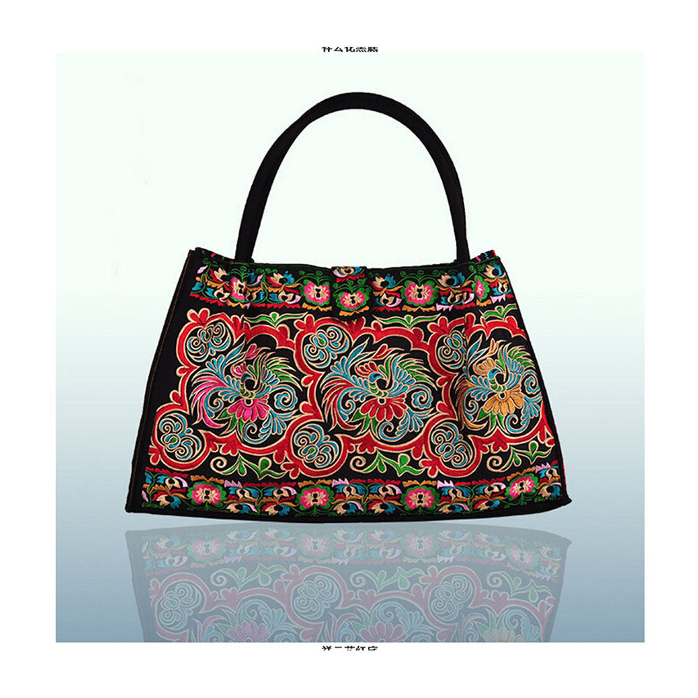 Bohemian Woman's Bag National Style Embroidery Single-shoulder Bag Embroidery Handbag Big Bag Factory(Big Szie)   black base cloud and flower - Mega Save Wholesale & Retail - 1