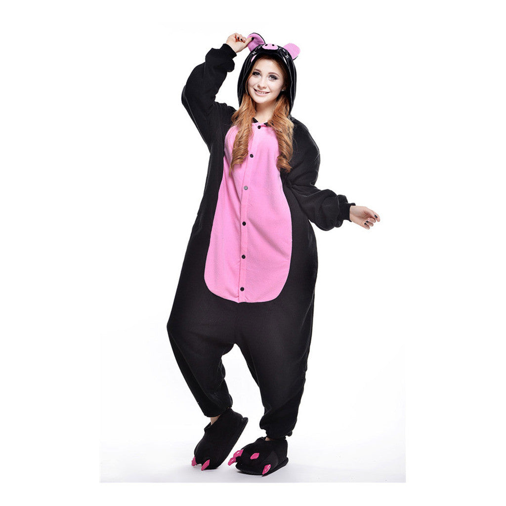 Unisex Adult Pajamas  Cosplay Costume Animal Onesie Sleepwear Suit  Black Pig - Mega Save Wholesale & Retail