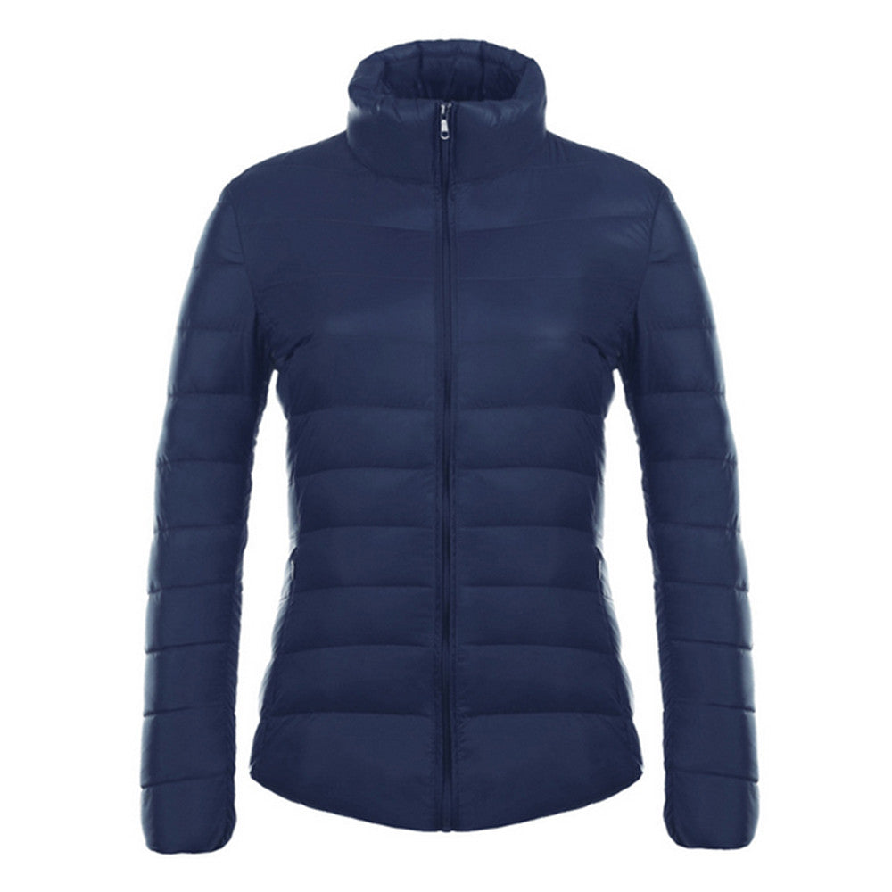 Woman Stand Collar Thin Light Down Coat Slim   navy   S - Mega Save Wholesale & Retail - 1